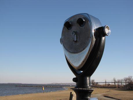 Coin-operated binoculars at East Beach.