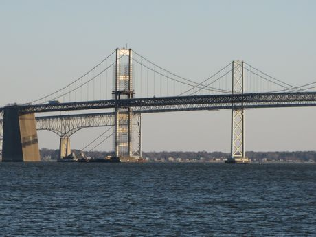 The Chesapeake Bay Bridge, viewed from the southeast end of the park.