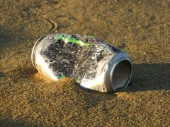 Remains of a discarded soft drink can near the western end of South Beach.