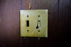 Light switches in the second floor hallway, at the top of the stairs
