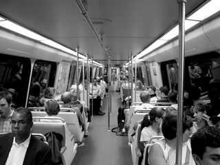 On the Metro at the tail end of the morning rush hour, the Metro is still well-populated.