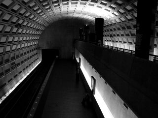 As Rosslyn is a bi-level station, the outbound platform is considerably lower than the inbound platform.