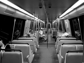 Those few people riding the trains late at night lend a somewhat somnolent air to the car, with few words spoken.