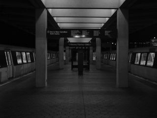 Approaching midnight, after the final train of the night has left for New Carrollton, the Vienna/Fairfax-GMU station is quiet, with no sound except for that of drivers on Interstate 66.