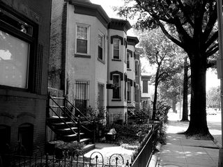 In Northwest Washington's Shaw neighborhood, row houses line Rhode Island Avenue.