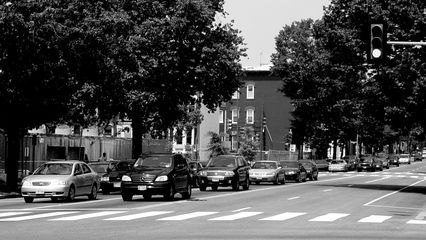Traffic waits at an intersection.