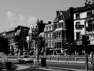 In the Dupont Circle neighborhood, row buildings continue their prevalence, though in Dupont Circle, the buildings are noticeably taller and more ornate than in Shaw.