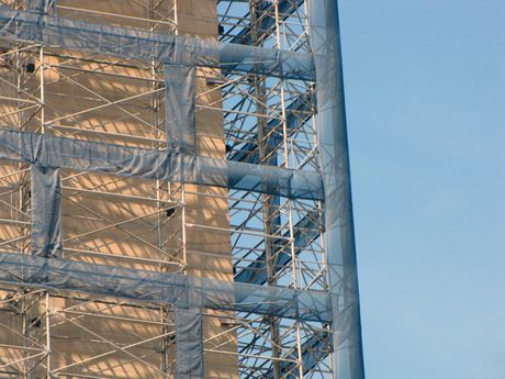 Scaffolding detail, northeast corner.