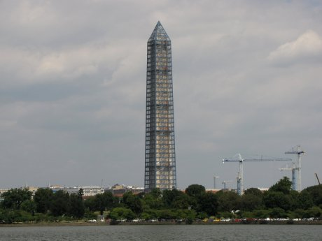 View from the southwest, across the Tidal Basin.