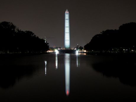 West side of the monument, viewed from the western edge of the Lincoln Memorial Reflecting Pool.