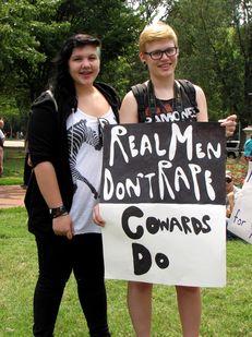 """Real men don't rape. Cowards do."""