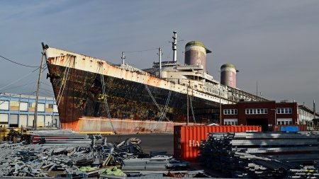 The SS United States, viewed from Columbus Avenue