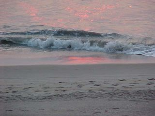 And so now the waves do their thing with a little pink glow about it.