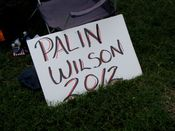 A sign on the Capitol's west lawn advocates a Sarah Palin/Joe Wilson (presumably Republican party) ticket for the 2012 presidential election.
