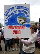 A woman's sign advocates tossing out incumbents during the 2010 midterm elections.
