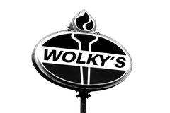 Sign for Wolky's, an independent gas station on Route 924 in East Union Township, Pennsylvania, near Hazleton.
