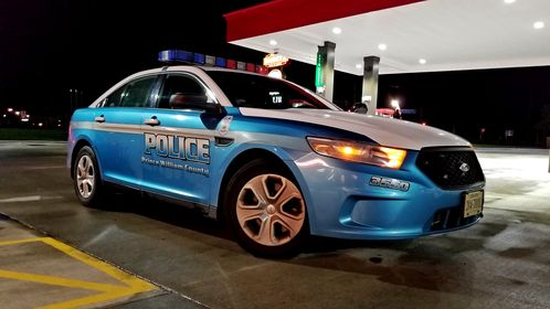 Ford Taurus Police Interceptor in the Prince William County Police scheme at the Sheetz in Haymarket, Virginia.