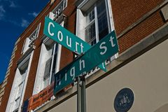 Street signs denoting the intersection of Court Street and High Street in downtown Morgantown, West Virginia.