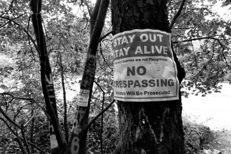"""""""Stay Out, Stay Alive"""" sign near the northern end of the Graffiti Highway in Centralia, Pennsylvania."""