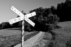 Vintage railroad crossbuck near the intersection of Fort Ritchie and Skunk Hollow Roads in Sabillasville, Maryland.