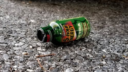 A discarded bottle of 5-Hour Energy in a parking lot in Glenmont, Maryland.