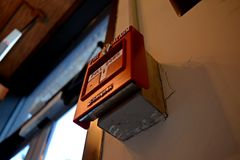 Simplex fire alarm pull station at the Citizens Building at 295 High Street in downtown Morgantown, West Virginia.
