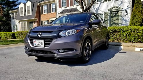 My Honda HR-V, parked in its usual space in front of my house in Montgomery Village, Maryland, with its newly-installed permanent license plates.