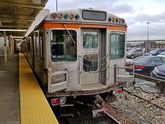 SEPTA Broad Street Subway train at Fern Rock Transportation Center, at the north end of Philadelphia's Broad Street Line.