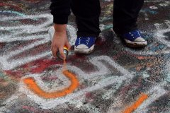Elyse Horvath tags the Graffiti Highway, the former alignment of Pennsylvania Route 61 in Centralia, Pennsylvania.