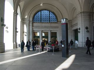 Emerging from the Metro station, we enter an open area outside the main station.