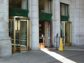 Through these revolving doors, we enter the shopping area.