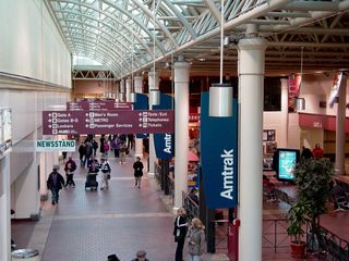 Beyond the shops is a modern train station. I saw this, and it immediately reminded me of an airport terminal. Shops and stuff were there, most notably a Sbarro, plus you boarded your trains at certain gates, with a similar system relaying arrivals and departures - the what, when, and where.