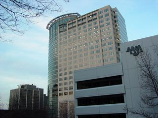 Now this is an interesting change! Beyond the AASA Building, we have 1801 North Lynn Street, Rosslyn's newest high-rise. This building was completed in 2002, and is postmodern in design.