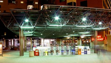 Another nice thing about Ballston is that the Ballston-MU Metro station has a canopy over it, with the Ballston Metro Center building right nearby, housing offices, restaurants, a hotel, and other services.