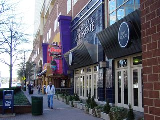 One feature of Ballston is the Ballston Common Mall. Unlike Pentagon City Mall, there is no access directly from Metro, however, Metro passengers have a fully-covered route along the two blocks between the Metro and the mall via walkways and skywalks through Ballston Metro Center and Stafford Place.