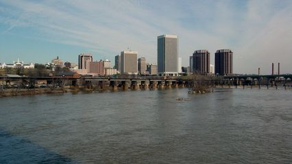 The Richmond skyline as viewed from the Belle Isle Bridge is a very modern one, indeed, with the major features being the Federal Reserve Bank of Richmond (center and tallest), and the Riverfront Plaza twin towers.