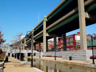 """A perfect example of the highway situation in Richmond is here at the Canal Walk, in the """"retro"""" end of it, in the Shockoe Bottom neighborhood. Two levels of highway. While this area may seem quiet and peaceful in pictures, in reality, it's really quite noisy, with most of the noise coming from the highways above."""