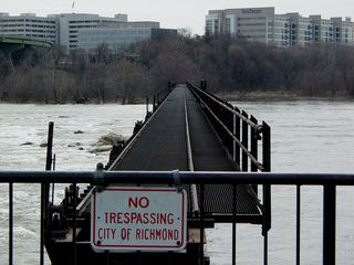 Across the James River, more business is evident, though inaccessible from this juncture.