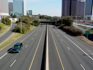 Did I mention highways running right through the middle of everything? Here's another four lane divided highway, the Downtown Expressway (State Route 195), which cuts directly through the area.