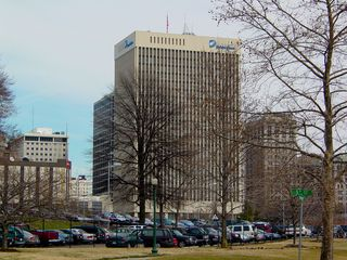 Another major feature of the Richmond skyline is the Dominion Power Building. The building is designed in the international style, which is considered the purest and most minimalist form of modernism. It is topped off with an American flag on the roof.