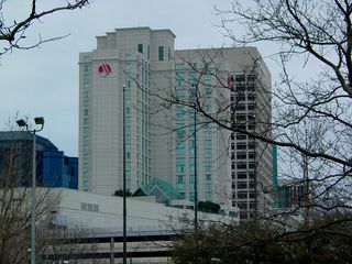 As accommodations go in Norfolk, the most noticeable and centrally-located hotel is the Norfolk Waterside Marriott, also the city's fourth-tallest building. On this particular day, the building was missing the red cover for part of its sign. How curious!
