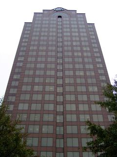 On the subject of Dominion, the postmodern Dominion Tower is the tallest building around, and is separate from the other high-rises by virtue of being on the far side of Waterside Drive, right on the waterfront. However, unlike the Dominion Building in Richmond where it was home to Dominion Resources, the Dominion Tower in Norfolk is home to offices for First Union.