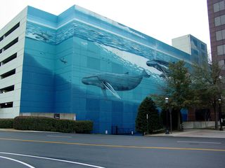 """The Dominion Tower's parking garage is perhaps even more notable than the building itself due to a large picture of whales along one side of the garage. Many people from the area have referred to this as the """"whale building""""."""
