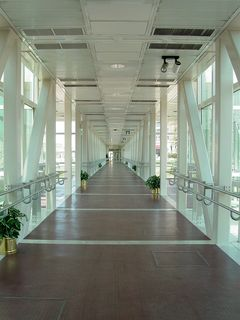 Next to the First Union Tower is a skywalk, the only one observed in Roanoke, leading across the railroad tracks to the Hotel Roanoke. There is also a stairway down to street level across the tracks.