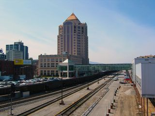 As Roanoke's history is linked to the railroad, it only makes sense for there to be a lot of railroad tracks around town. In fact, if you look in the background of this picture, the skywalk from First Union to the Hotel Roanoke is visible, shown passing over the railroad tracks.