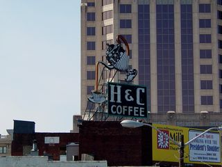 One thing that Roanoke has in its downtown business district is signs on roofs such as these. A number of these signs, like the giant Dr Pepper bottle cap, are considered landmarks by Roanoke residents.