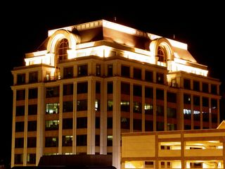 At the Norfolk Southern Building, the most distinctive feature, the roof, is illuminated.