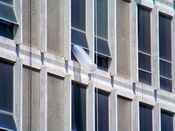 June 1, 2008: Plastic tube protruding from a window on the building's east side.