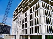 August 6, 2008: West facade during curtain wall removal.