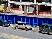 September 7, 2008: Sidewalk shed. Note the blue color.